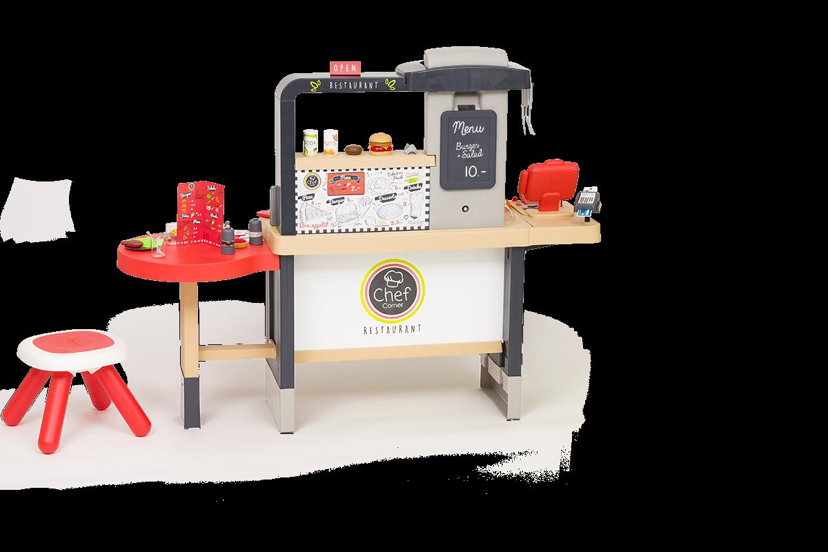 Restaurant cu specialități culinare Chef Corner Restaurant Smoby electronic și reglabil în înălțime cu două părți apă curgătore și 70 accesorii