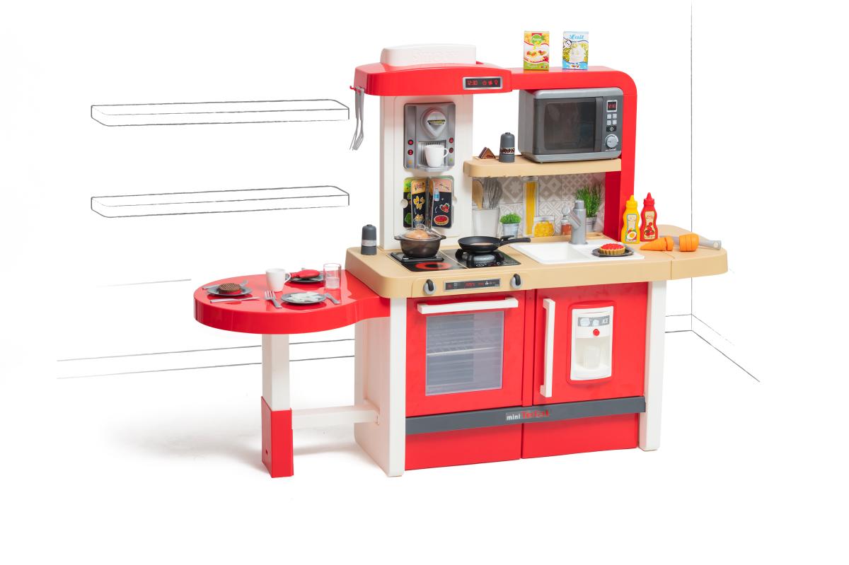 Bucătărie care crește cu copilul cu apă curgătoare, microunde Tefal Evolutive Gourment Smoby roșie cu bule magice scăunel și 43 accesorii
