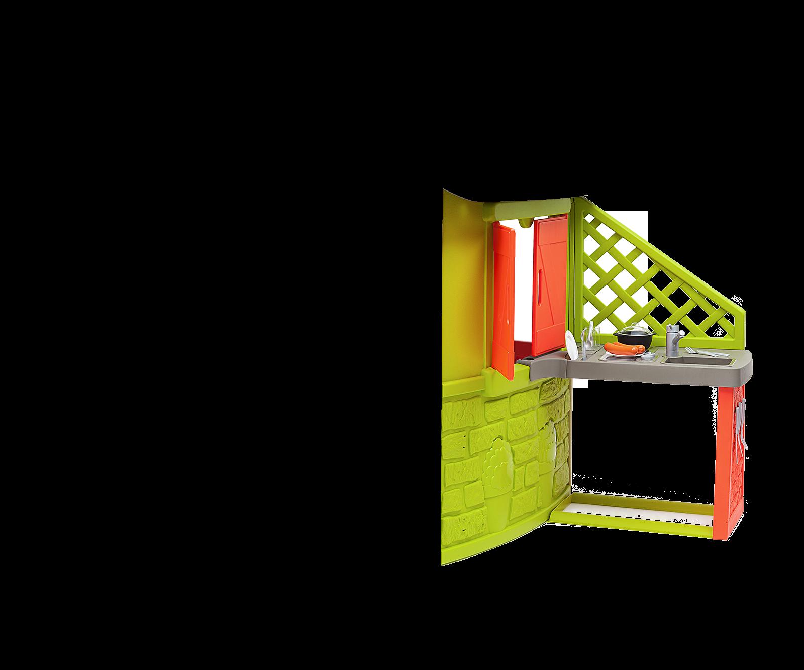 Căsuţă Neo Jura Lodge Smoby cu 2 uşi 2 geamuri cu jaluzele şi hrănitor de păsări de la 2 ani